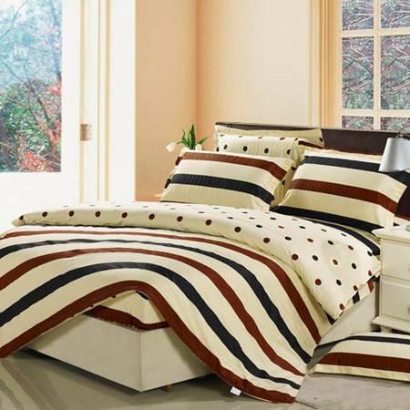 新款床笠式四件套 纯棉斜纹床罩半活性四件套被套160*210床笠150*200