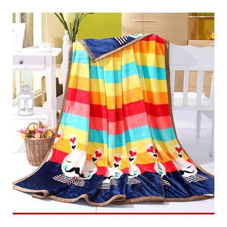 包边雪貂绒毯超柔加厚不掉毛毛毯150*200CM