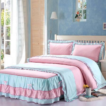 高档韩版纯棉双层花边床裙四件套 床裙床笠式四件套被套1.8*2.2+1.8床裙