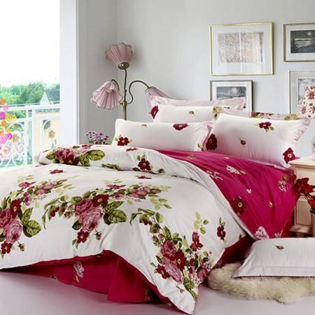 挪威森林全棉斜纹印花四件套婚庆田园床上用品纯棉四件适用于1.5M/1.8M床