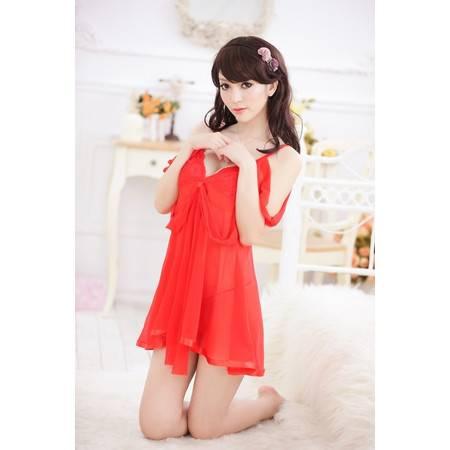 性感蕾丝花边情趣挂脖吊袜带睡裙 红色透明诱惑套装