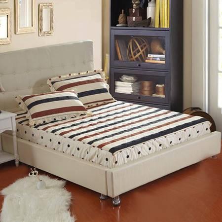 全棉加厚夹棉床笠 保护席梦思 防滑固定床单床垫罩1.8*2.0M