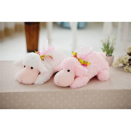 绵羊纸巾盒纸巾抽 毛绒玩具羊年吉祥物粉色白色可选28CM