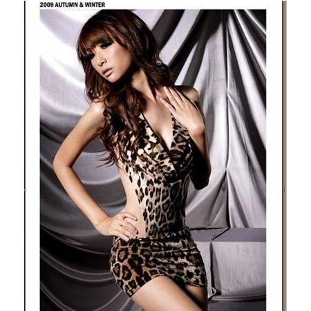 时尚豹纹连体衣制服诱惑夜店职业装秘书短裙套装