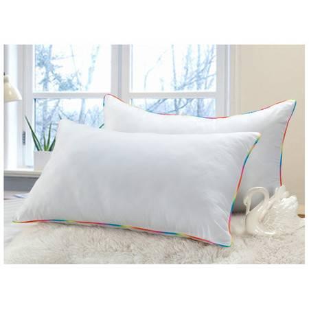 PP棉枕芯 精致七彩边超柔枕芯 磨毛单人枕头南通枕芯