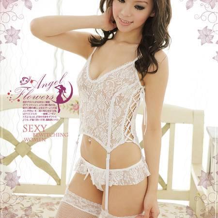白色蕾丝性感服性感蕾丝吊带情趣诱惑套装
