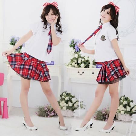 女式日韩格子裙学生服舞台演出写真制服诱惑套装