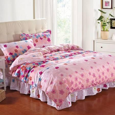 秋冬新款 纯棉加棉夹棉床裙式四件套 绗缝式床裙加厚套件床裙1.8M+被套2M
