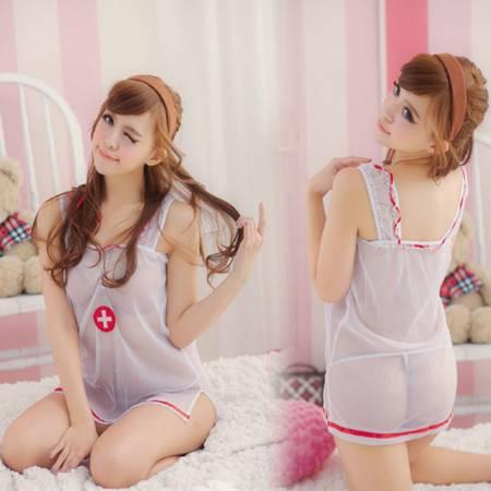 制服诱惑 女式性感网纱 透明护士装丁字裤睡衣