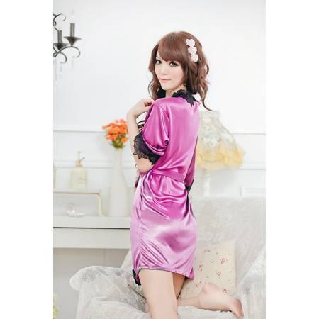 女式性感蕾丝花边 开襟浴袍睡袍 制服