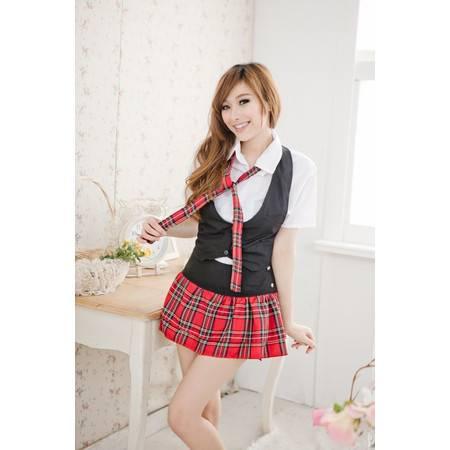 制服诱惑英伦风学生装 可爱格子超短裙马甲多件套