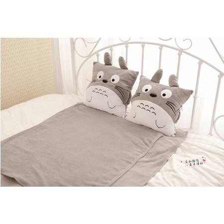 正方形龙猫三用卡通毛绒暖手空调毯80×100CM