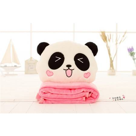 熊猫三用卡通毛绒暖手空调毯100×160CM