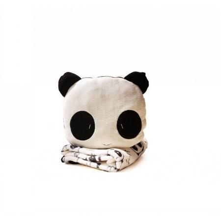 卡通熊猫空调毯毛绒毯子毯子92×88CM