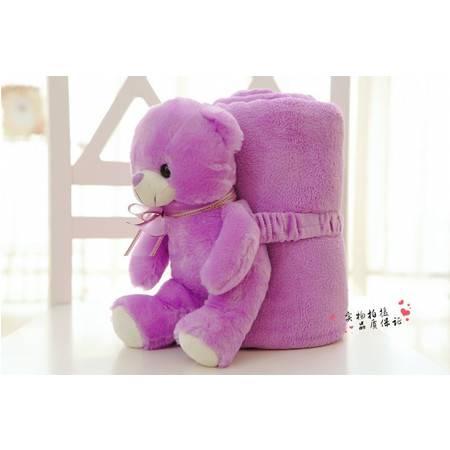 大号薰衣草熊卷毯子可加工定制毛绒卡通空调毯熊长度25CM 毯子1.5×2米