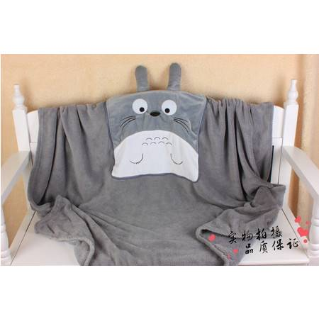 大号创意卡通龙猫连体毯子毛绒空调毯200CM×150CM