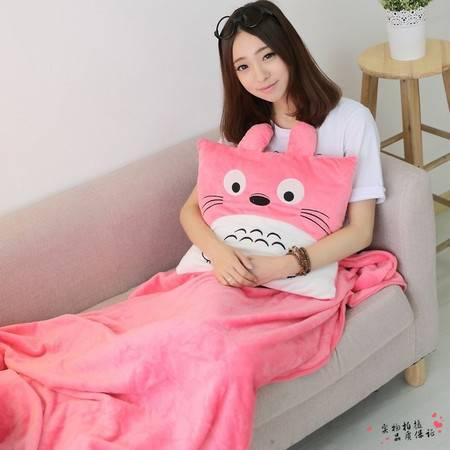 多彩龙猫三用毛绒暖手空调毯100×100CM