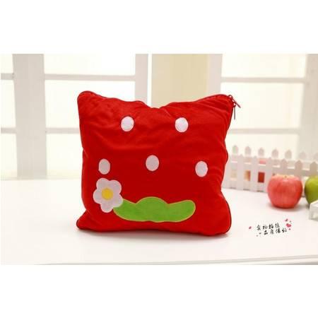 草莓连体毯子毛绒空调毯100×150CM