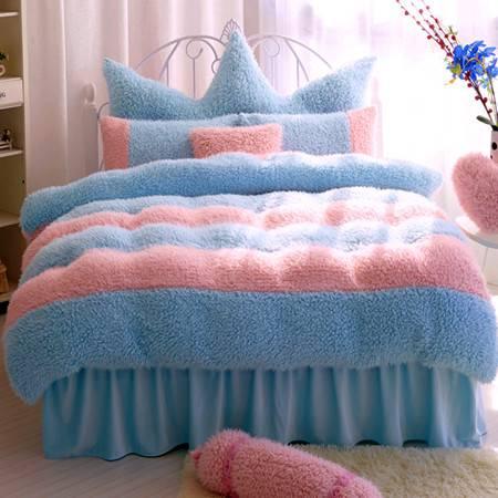 玫瑰花山羊绒四件套暖肤加厚条纹山羊绒床裙四件套被套150x200cm床裙120x200
