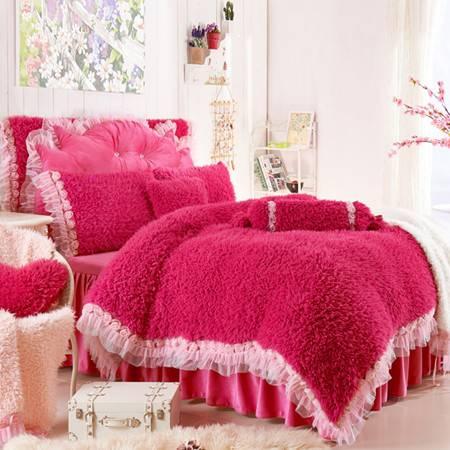 韩版玫瑰花加厚保暖冬套件 山羊绒公主风四件套被套200x230cm床裙150x200