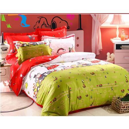 全棉活性印花纯棉卡通儿童可爱四件套被套200*230,床单250*250