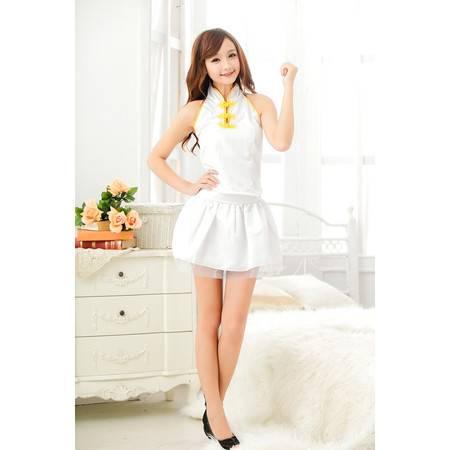 古典印花白色旗袍装 性感睡衣学生装制服诱惑套装