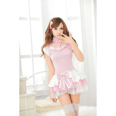 女 制服诱惑 粉色连体公主女佣性感短裙套装
