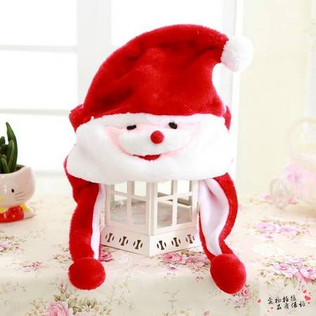 卡通创意圣诞节毛绒帽子节日礼品长30CM宽28CM