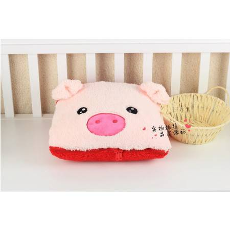 粉猪卡通空调被抱枕被95×145CM