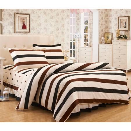 床裙四件套 韩版全棉床裙式四件套被套2.2*2.4m+床裙1.8m