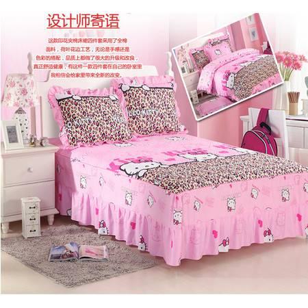 韩式公主风荷叶边全棉四件套纯棉床裙式4件套被套1.6M+床裙1.2M