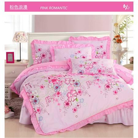 韩版AB版夹棉床裙式全棉加厚四件套被套2*2.3M+床裙1.5M