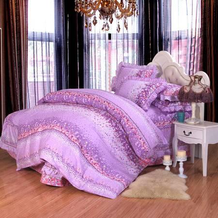韩版公主风纯棉床罩床裙四件套 全棉活性印花双人床套件1.8m床