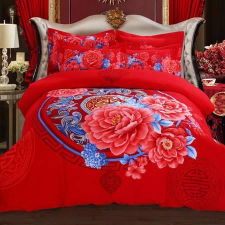 加厚保暖纯棉婚庆磨毛四件套 金太阳超值红色被套220*240+床单250*270
