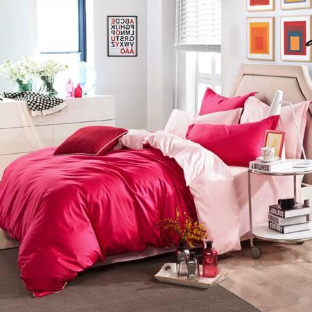 全棉斜纹素色双拼家纺四件套纯色床单休闲4件套被套200*230 床单230*250