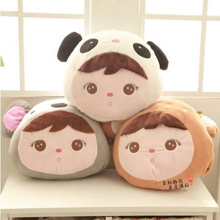 可爱圆形暖手靠垫 抱枕填充毛绒玩具40×35CM