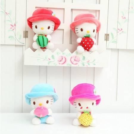 圆帽子kitty小公仔 填充毛绒玩具 结婚婚庆礼品 长15CM