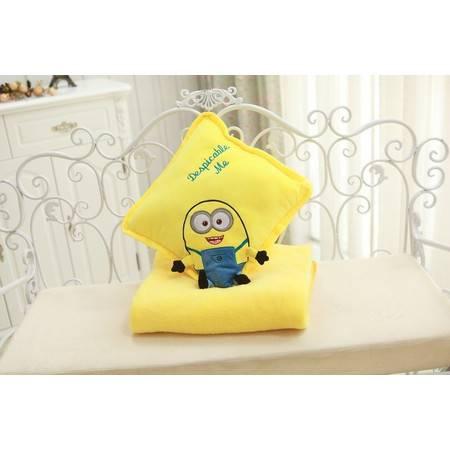 正方形小黄人三用空调毯暖手靠垫毯子1.7×1米