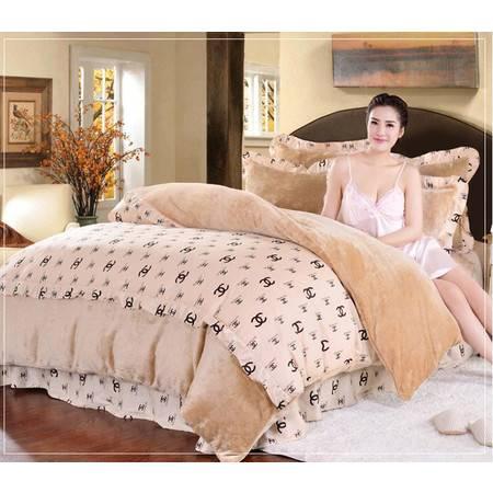 全棉加厚韩版法莱绒标准四件套被套200*230+床单250*250