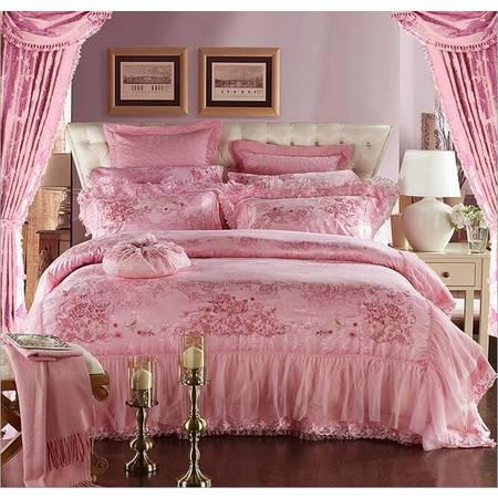 粉红色婚庆九件套 床品套件家纺 粉红色喜庆婚庆提花床品