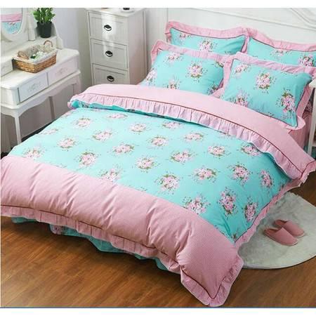 全棉韩版蕾丝花边四件套 床单式四件套床单款245*245被套200*230