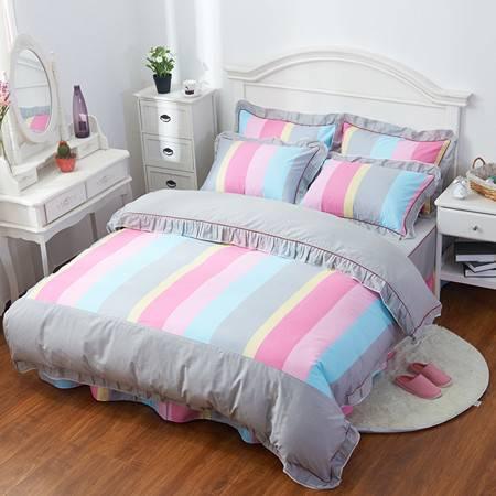 全棉韩版蕾丝花边四件套 床单式四件套床单款250*270被套200*230