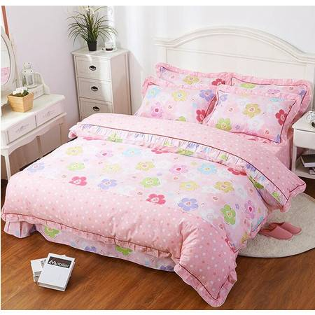 全棉韩版蕾丝花边四件套 床单式四件套床单款190*230被套160*210