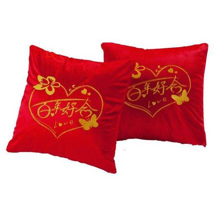 精美刺绣毛绒抱枕婚庆红色抱枕喜庆节日用品抱枕含芯单只价格