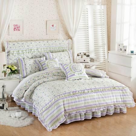 RUIBO 全棉韩版公主风四件套纯棉加厚夹棉床裙4件套被套2.2*2.4+1.8*2床裙