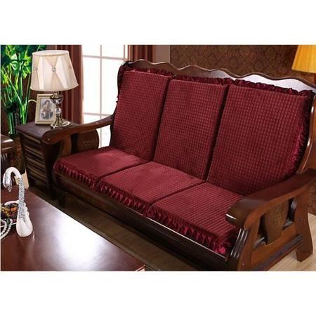 实木沙发坐垫带靠背加厚海绵布艺靠垫椅垫50*47*60CM