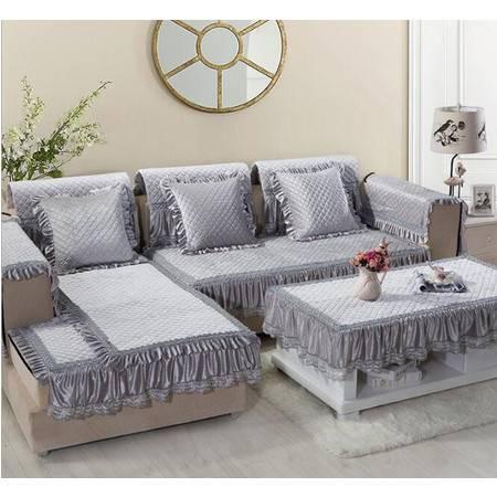 RUIBO 短毛绒四季沙发垫AB版防滑 精致绗缝贴边蕾丝发坐垫订做款