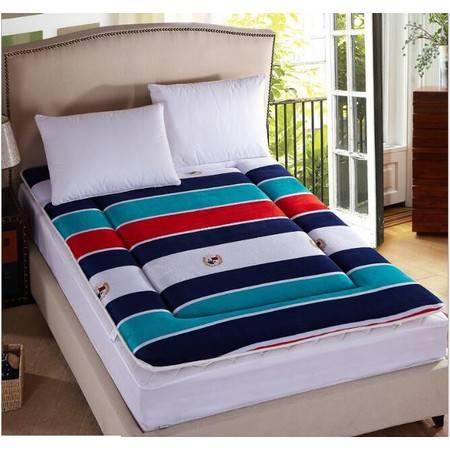 秋冬保暖加厚可折叠单双人印花法莱绒床垫150*200cm