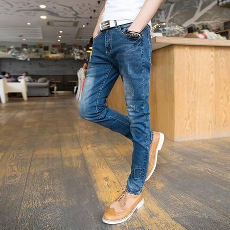 mssefn 2014新款 时尚百搭个性潮蓝色补丁男士小脚牛仔裤2098-NZ68
