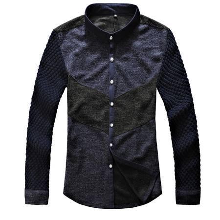 mssefn 2014秋季新款男士长袖衬衫男韩版修身立领衬衣时尚休闲拼接 2111-C02